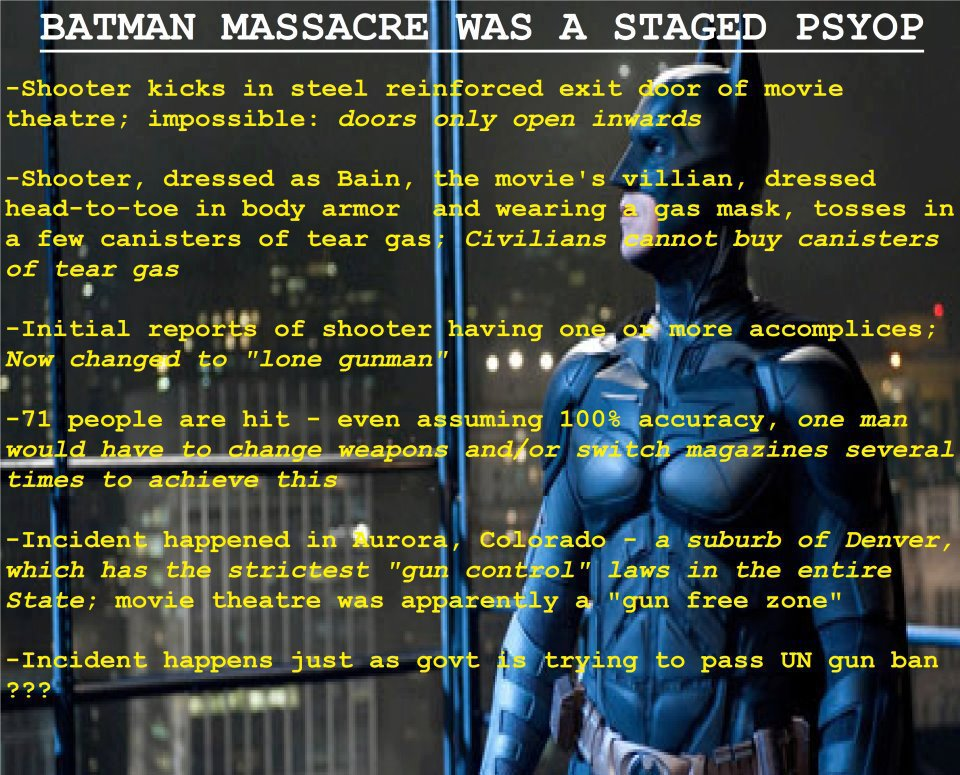 Aurora, CO Batman Shooting Was A Staged Psy-Op